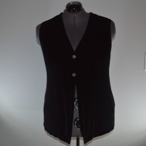 Citiknits 1X Black Buttoned Vest Slinky Fabric